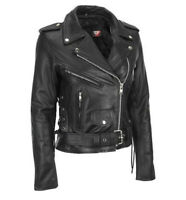 Motorcycle Women Leather Black Brando Belted  Biker jacket Size XS S M L XL XXL