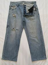 BILLABONG BUTTON FLY Denim Jeans Mens Size 36 Ripped & Frayed