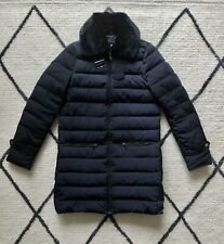 ZARA NAVY BLUE Long Feather Down QUILTED PUFFER JACKET COAT XS 6 8 10 36