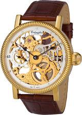Eichmüller Skelettuhr mechanische Uhr Handaufzug 8218-02 vergoldet braun HAU NEU