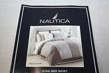 Nautica Anchorage white grey blue silver KING Bed Skirt dust ruffle cotton new