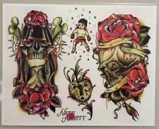 "Tattoo Flash Single Sheet By Nate Abbott Skull & Roses Grim Reaper 11"" X 14"""