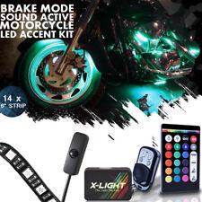 14x Suzuki Motorcycle Remote Neon LED Accent Underglow Kit w Brake Light Feature