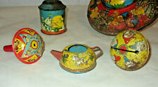old Tin Litho TOYS tea pot top noise makers