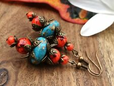 Bohemian Style Drop Dangle Earrings Turquoise Blue Handmade Costume Jewellery