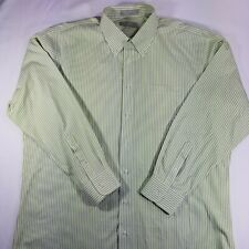 Nordstorm long sleeve button front lime green white striped Wrinkle Free 17/34
