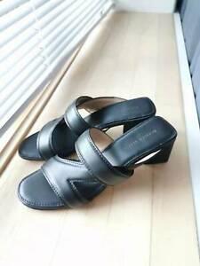 BOTTEGA VENETA Band Sandals Black Leather Mules Size 38