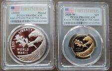 Rare 2020-W PCGS PR69DCAM War II 75th Gold & Silver Medals set