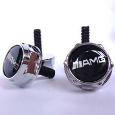 4X Chrome AMG License Plate Frame Security Screw Bolt Caps Cover Nuts
