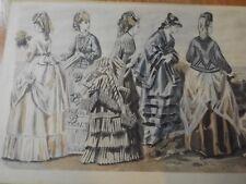 3 Antique Vintage LA MODE ILLUSTREE Prints Gilqun unp Paris / GODEY'S FASHIONS