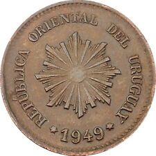 Republica Oriental Del Uruguay 2 Centésimos 1949 KM#20a Chile Mint (4571)