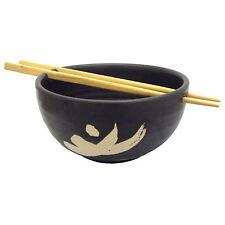 Handmade design giapponese in ceramica riso SOUP BOWL con Chopsticks / Nero Motif