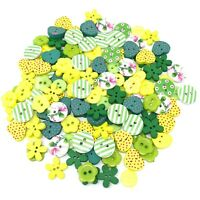 Green/Yellow 150 Mix Wood Acrylic & Resin Buttons For Cardmaking Embellishments