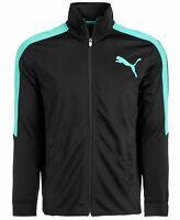 Puma Mens Jacket Turquoise Black Size XL Contrast Full Zip Track $60 #056