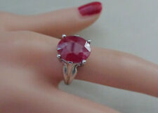 STERLING RING WITH FACETED RUBY CRYSTAL SIZE 7.5 (INDIA STONE)