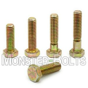 3/8-16 Hex Cap Screws / Tap Bolt, Zinc Yellow Grade 8 Alloy Steel Coarse Thread