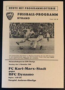 Programm 3.November 1968 BFC Dynamo - FC Karl-Marx-Stadt DDR Oberliga, Nachdruck