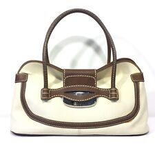 9457bc2723b TODS Canvas Leather Satchel Handbag Metal Flap Close Beige Brown (MSRP  $1095)
