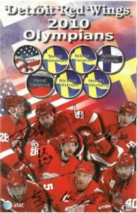 2010 Detroit Red Wings Olympians signed 11x17 Photo BAS Beckett LOA