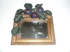 Vintage Beautiful small fruit  Framed Wall Mirror 1950/60s