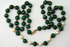 "Vintage 14K Solid Gold, Malachite and Pearl Necklace 24"" Long"