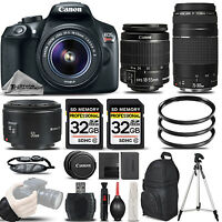 Canon EOS Rebel T6 DSLR Camera + 18-55mm Lens + 75-300 III +50mm 1.8 -64GB KIT