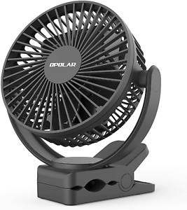 OPOLAR Rechargeable Battery Operated Clip on Fan 5000mAh, Upgraded Quieter  Str