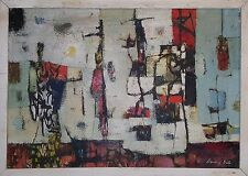 VINTAGE STANLEY BATE ABSTRACT MODERNISM PAINTING FINE ART NY TITLED JUDGEMENT