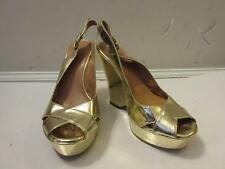 WOMENS NEBULONI GOLD LEATHER ANKLE STRAP WEDGE HEELS SIZE 36 1/2