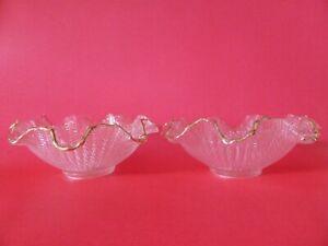 Italian Glass Bowls with Ruffled Edges, Pair, Art Deco, Vintage Tableware