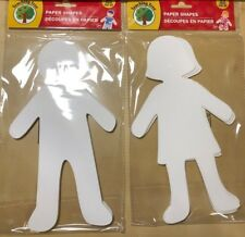 """New! 30 count 12"""" White DIY Paper Dolls Die Cut Boys and Girls"""