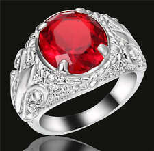 Size 9 Ruby Engagement Ring Red Garnet 18K White Gold Filled Wedding Jewelry