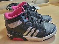 Adidas High Top Girls Size 1-1/2 Athletic Tennis Shoes Color Black (used)