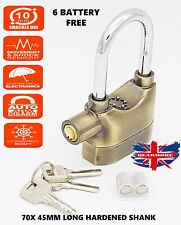 Long Shank Gold Motorbike Bike Cycle Shed Alarm Padlock Lock Motion Sensor 3keys