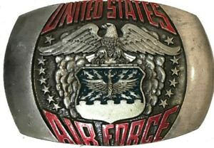 Vtg United States Air Force Belt Buckle USAF Military War Peace Veteran Gift 80s