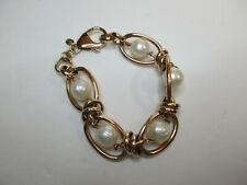 """Beautiful Bronze and Ringed Pearl Bracelet 7"""" Length 10mm W/Large Lobster Clasp"""