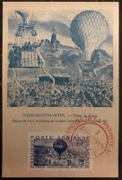 1946 Paris France Maxi Postcard Cover Commemoration Of The First Balloon Mail