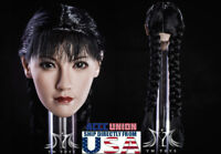"1/6 Asian Female Head Sculpt Braided Hair For 12"" PHICEN Hot Toys Figure USA"