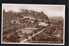 Edinburgh Castle & The National Gallery Princes Street... ~ 1950's? RP Postcard