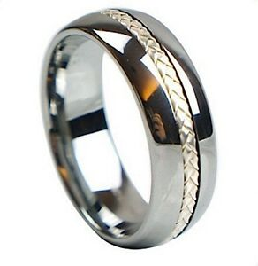 Luxury Silver Tungsten Carbide Ring with 925 Silver Inlay - Wedding Engagement