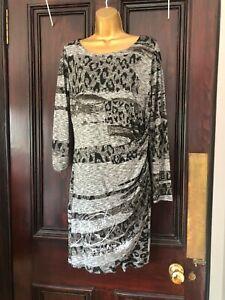 Desigual Grey Animal Print Knee Length Dress Size 14 Stunning!