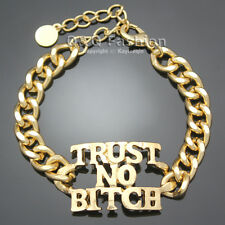 Celebrity Urban Gold Trust No Bitch Word Curb Chain Statement Bracelet Bangle W8