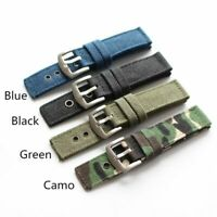 Wrist Watch Bands Strap Bracelet Trendy Pure Canvas Fabric Pin Buckle 20mm 24mm