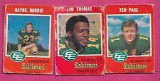 1971 OPC CFL EDMONTON ESKIMOS CARD LOT  (INV# J0181)