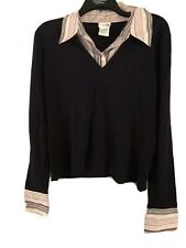 MAKE OFFER east5th Sweater/Shirt sz XL Front Button Dark Purple/Pink Stripes