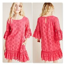 NWT Anthropologie Dani Lace Tunic Dress Womens Size 8 US Pink Knee Length