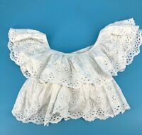 Off Shoulder Eyelet Ruffle Medium Crop Top Festival Beach Boho Hippie Small h8