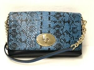 COACH Snake Exotic Leather Crossbody Crosstown NAVY BLUE Gold $225 36527 NWT