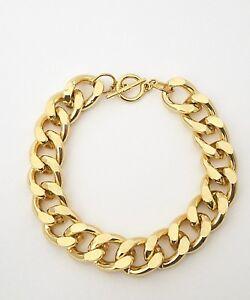 Gold Anodized Cuban Link Chain Aluminum14mm Bracelet for Men