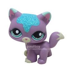 Littlest Pet Shop Sparkle Glitter Purple Cat Kitty Blue Eyes Figure LPS #2386